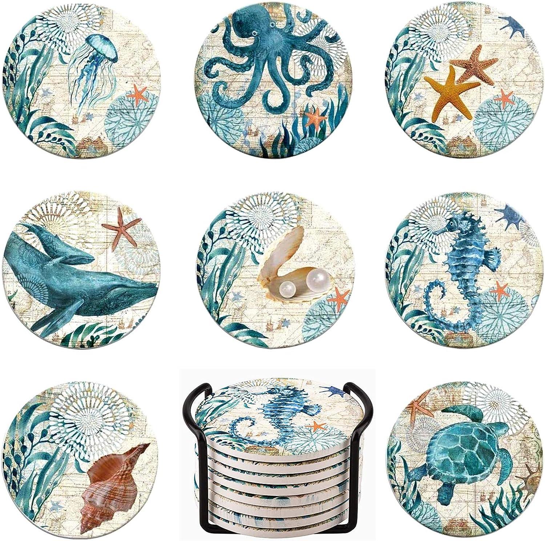 Lumuasky Set of 8 Absorbent Drink Coasters with Holder, Sea Ocean Life Coastal Beach Tropical Theme for Housewarming Apartment Kitchen Room Bar Decor, Cork Base