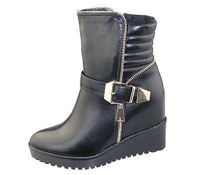 Damen Keilabsatz Winter High Top Sneaker Stiefel Damen Knöchel Sneaker Top Army fa87eb