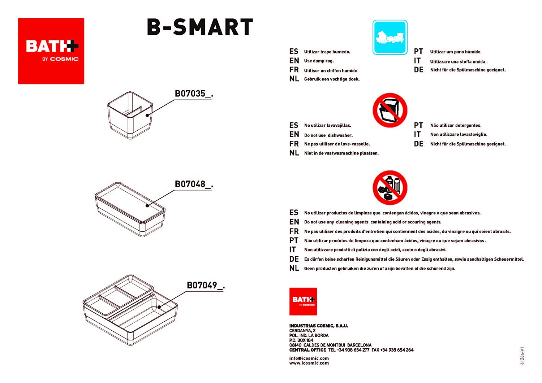Blanco y gris BATH by Cosmic B-smart Complementos Container Doble con Tapa