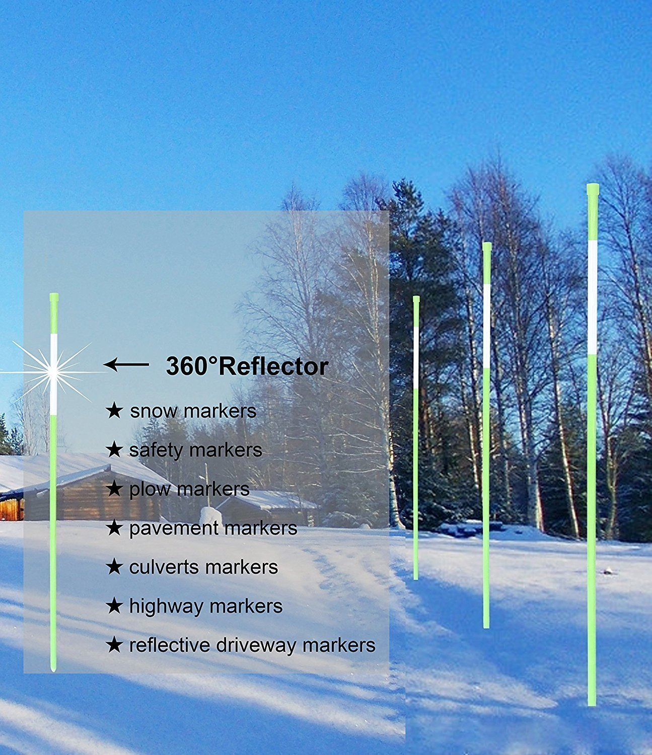 Fibermarker 60Inch Reflective Driveway Markers 5/16Inch Green Solid Driveway Poles for Easy Visibility at Night (100) by FiberMarker (Image #5)