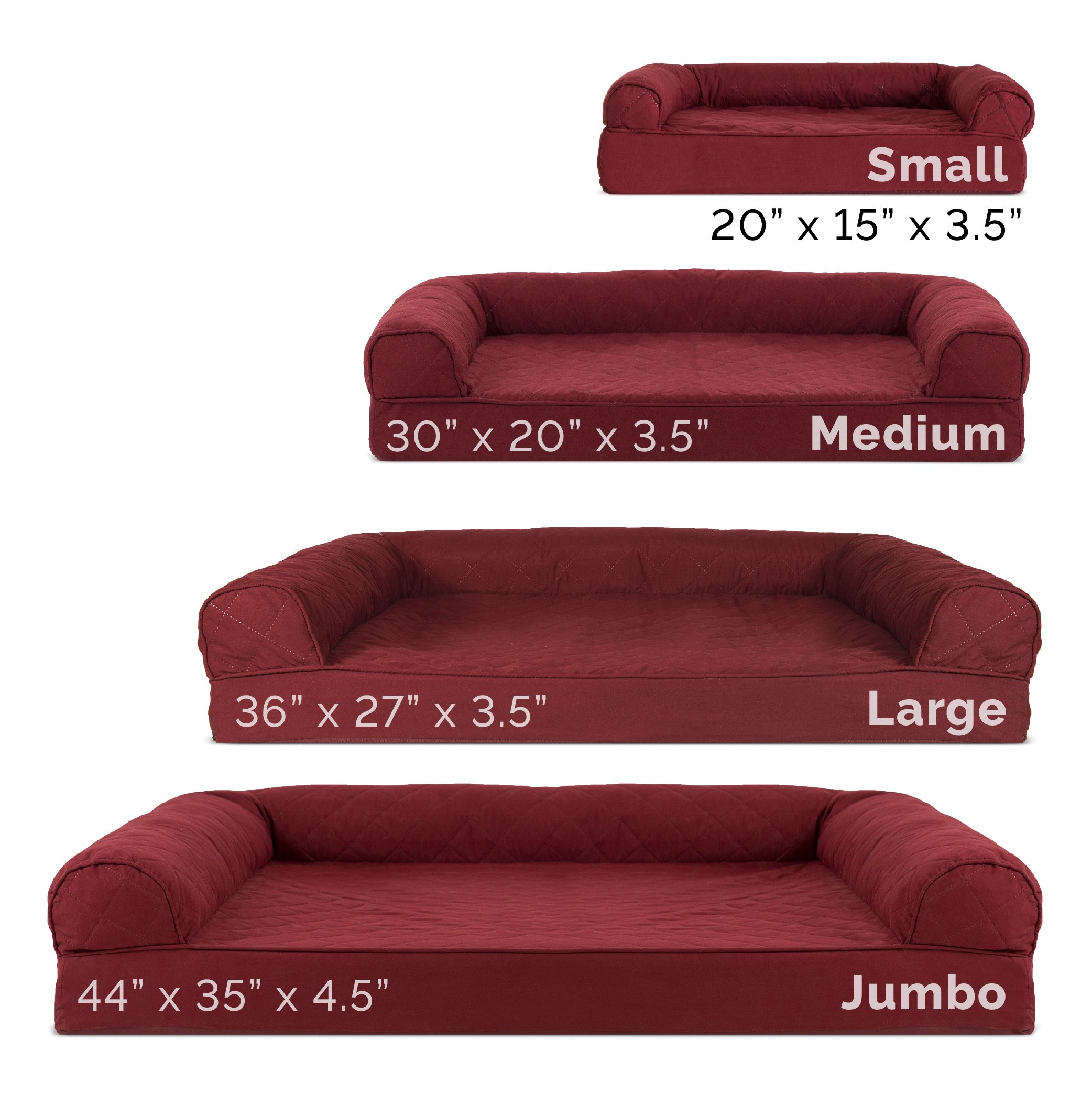 Furhaven Pet Dog Bed   Orthopedic Quilted Traditional Sofa-Style Living Room Couch Pet Bed w/ Removable Cover for Dogs & Cats, Wine Red, Large