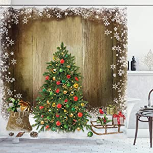 "Ambesonne Christmas Shower Curtain, Pine Tree with Present Boxes on Snowy Board Xmas at Countryside Theme, Cloth Fabric Bathroom Decor Set with Hooks, 70"" Long, Multicolor"
