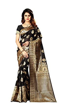 48b25f8829 Amazon.com: New Indian/Pakistani Ethnic Designer Multi Color Banarasi Silk  Party Wedding Saree P 20 (Black): Clothing