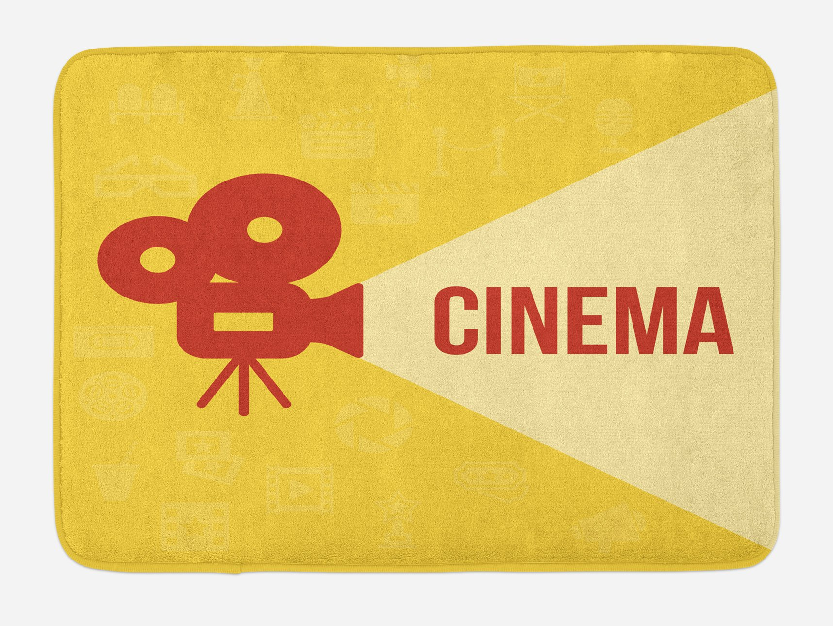 Ambesonne Movie Theater Bath Mat, Projector Silhouette with Cinema Quote Movie Symbols Background, Plush Bathroom Decor Mat with Non Slip Backing, 29.5 W X 17.5 W Inches, Dark Coral Beige Yellow