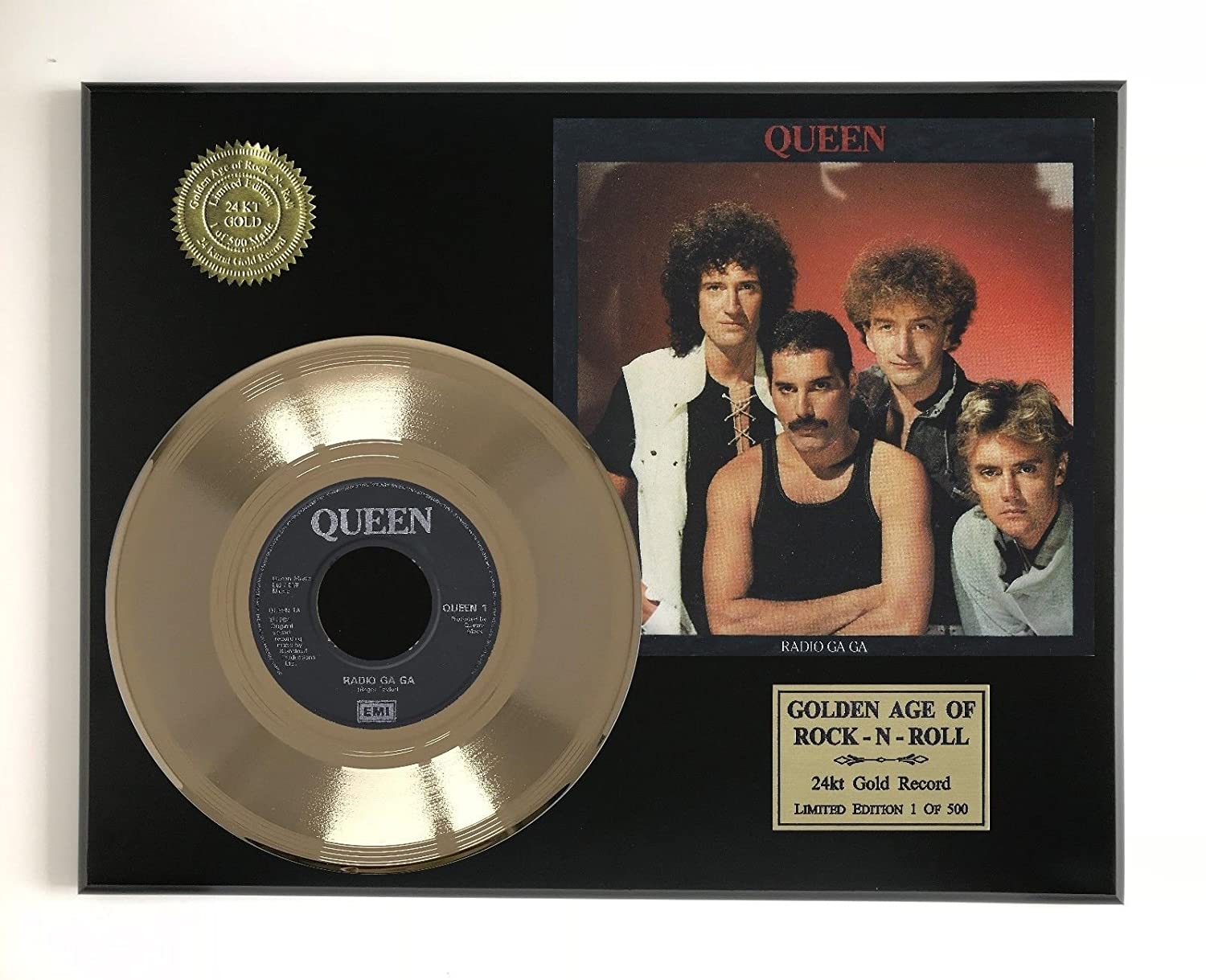 Queen - Radio Gaga Ltd Edition Gold 45 Record Display M4