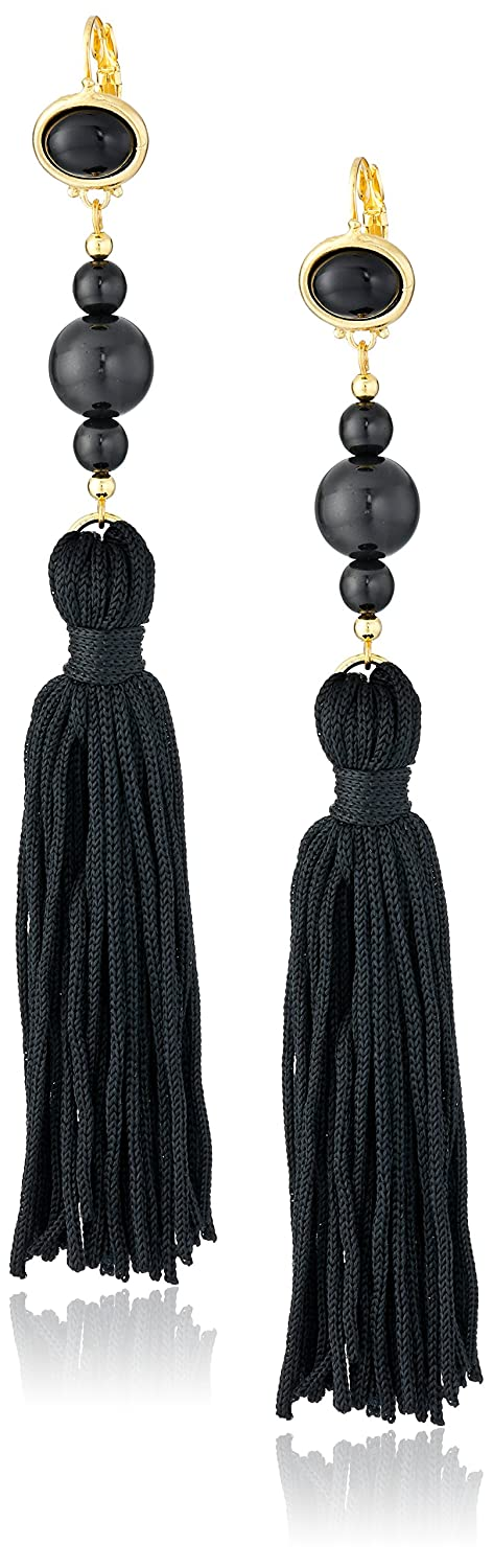 Kenneth Jay Lane Bead and Tassel Drop Earrings 8821EBBBP
