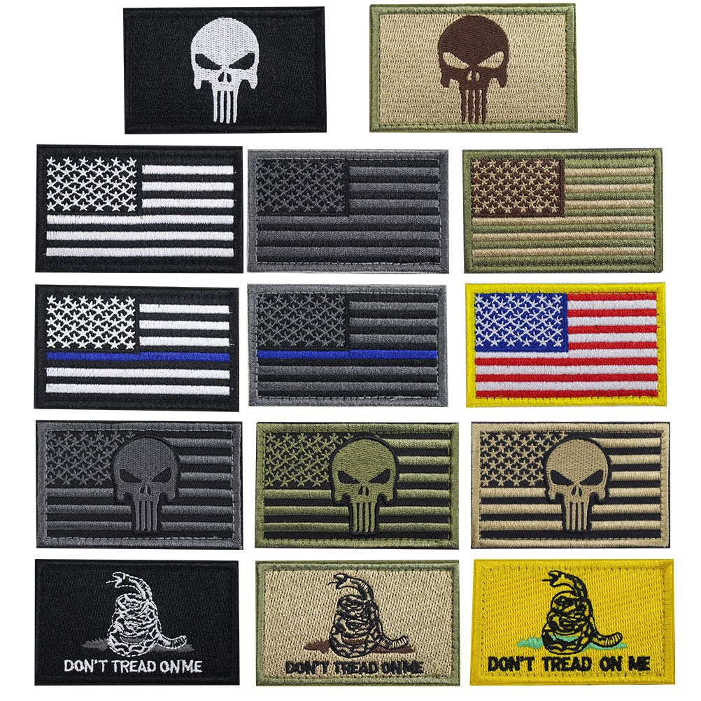 Creatrill Bundle 14 pieces USA Flag Patch Thin Blue Line Tactical American Flag US United States of America Military Morale Patches Set for Caps,Bags,Backpacks,Tactical Vest,Military Uniforms by CREATRILL