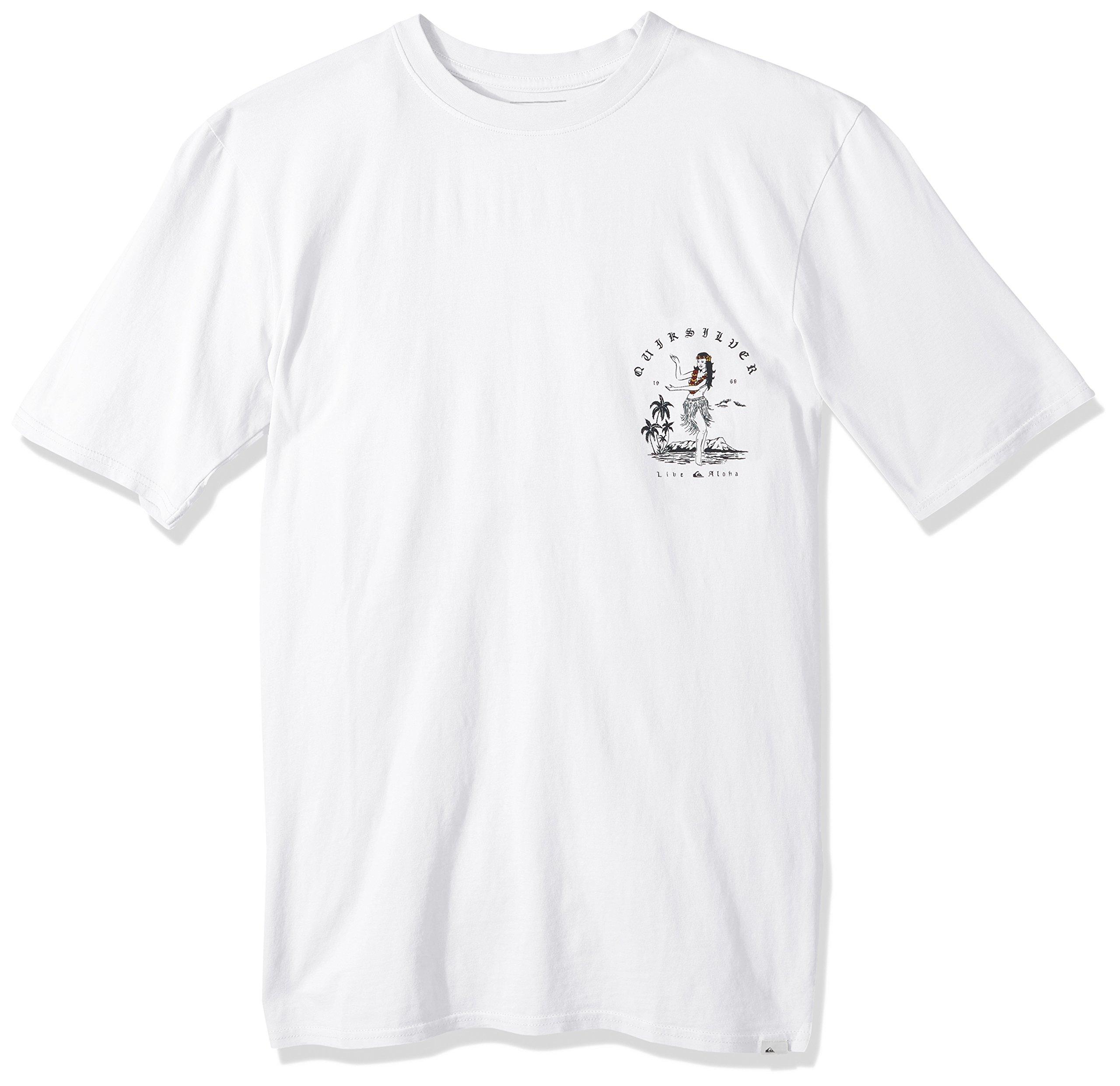 Quiksilver Men's Short Sleeve GMT Dye Curve Love, White, L