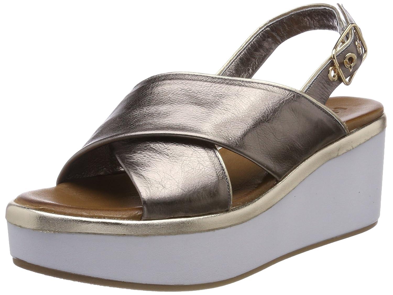 Inuovo Damen 8679 Peeptoe Sandalen Silber (Pewter-gold)