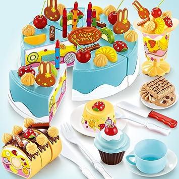 TurnRaise Niños Pretend Play Alimentos Juguete Set - 75 PC Pastel de cumpleaños (Azul)