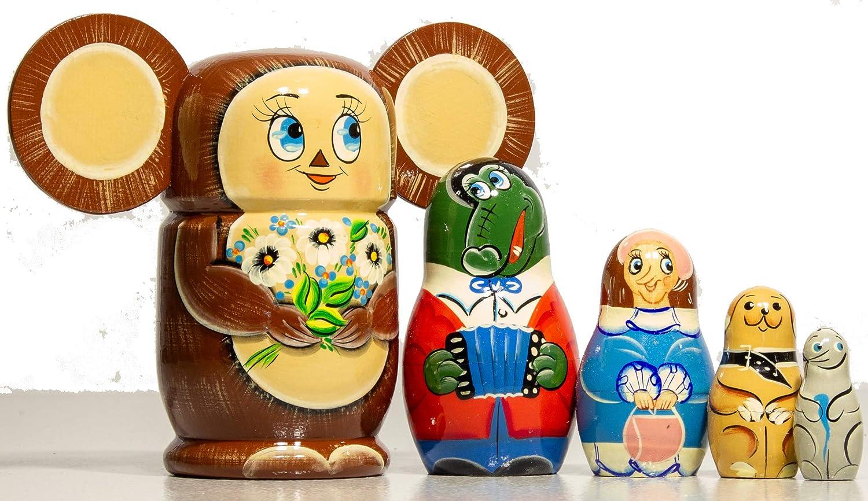 Special Design Gift Dolls Hand Painted in Russia Russian Nesting Doll Medium Size Cheburashka Handmade Wood Design Traditional Matryoshka Babushka
