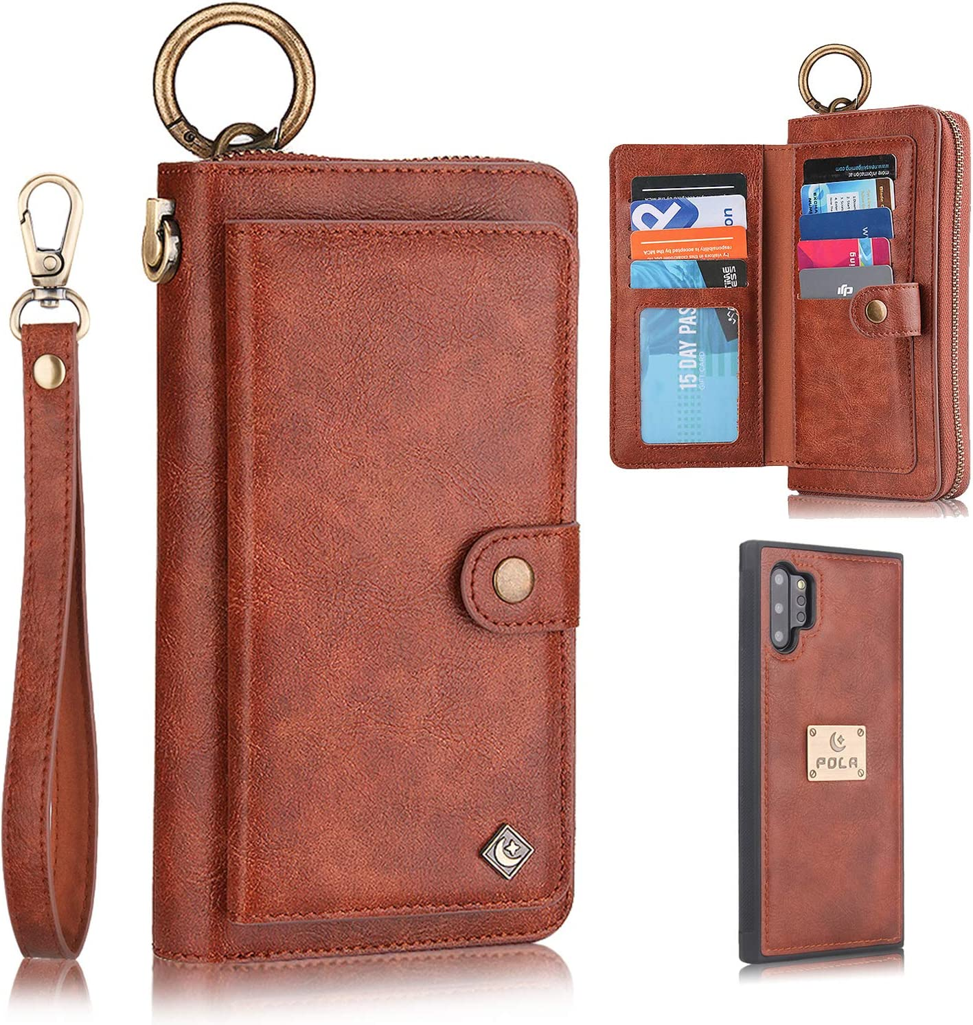 Galaxy Note 10 Plus Case, Note 10+ Plus 5G Case Wallet, XRPow [2 in 1] [Magnetic Detachable] Zipper Wallet Folio Case [Wrist Strap] Slim Leather Shock Back Cover with Credit Card Holder Purse - Brown