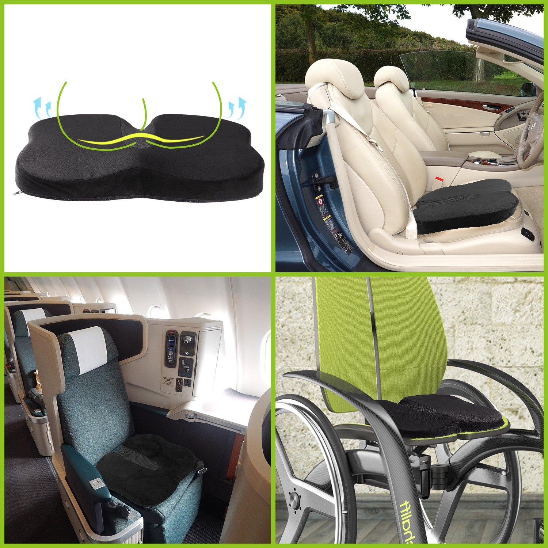 Luxspire Coccyx Orthopedic Seat Cushion Memory Foam Ergonomic Contoured Lumbar Support Pillow