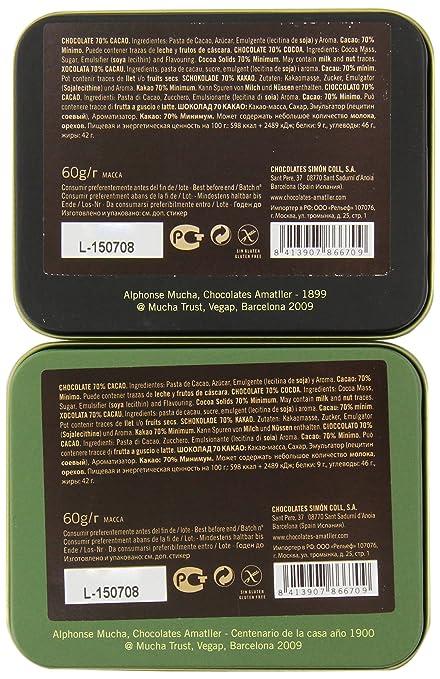 Chocolate Amatller Barcelona - Caja de chocolates (70% cacao) - pack de 2 x 60 gr (Toal 120 gr): Amazon.es: Alimentación y bebidas