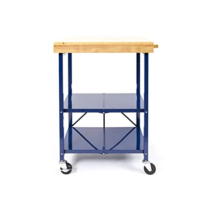 Amazon Origami Foldable Kitchen Island Cart Blue Home Improvement