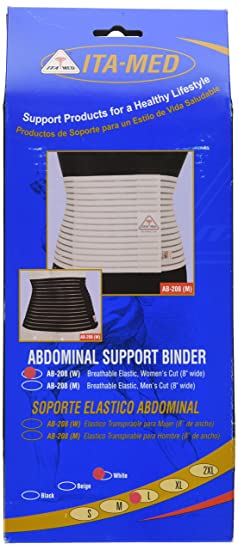 Amazon.com: ITA-MED Womens Breathable Abdominal/Back Support Binder AB-208: White Large: Health & Personal Care