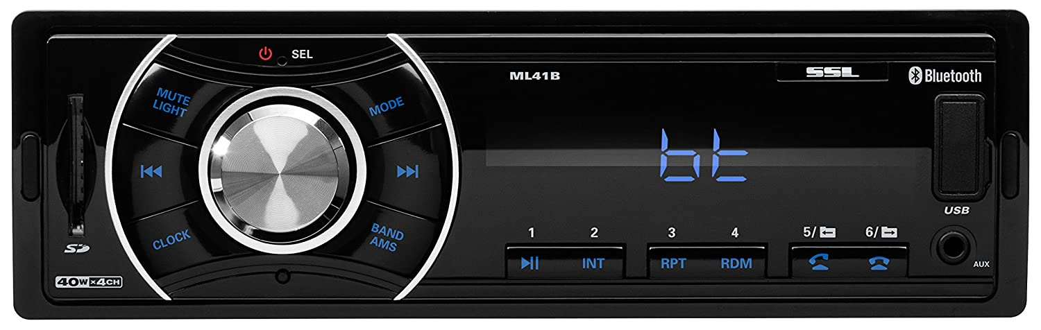 Sound Storm ML41B Single Din, Bluetooth, MP3/USB/SD FM Car Stereo, (No CD/DVD), Wireless Remote Control