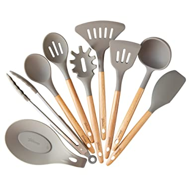 9 Pcs Kitchen Utensil Set Beech Wood Handles and Silicone Heads Cooking Utensils for Non-stick Cookware