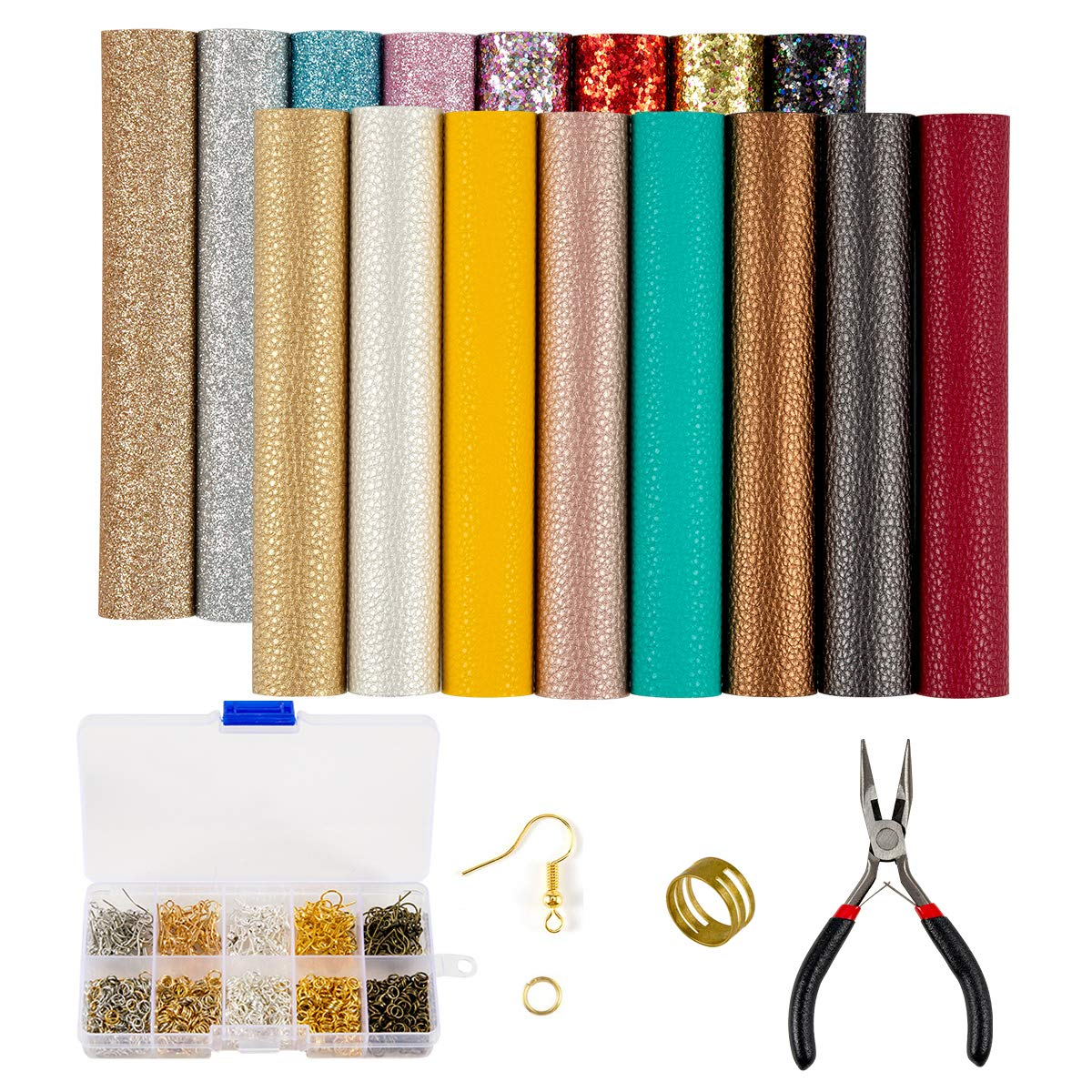 19 Pieces Faux Leather Earrings Making Kit, Synthetic Leather Fabric Sheets, Litch and Glitter Faux Leather with Tools for Earrings Bows Jewelry Crafts Making by Homtable