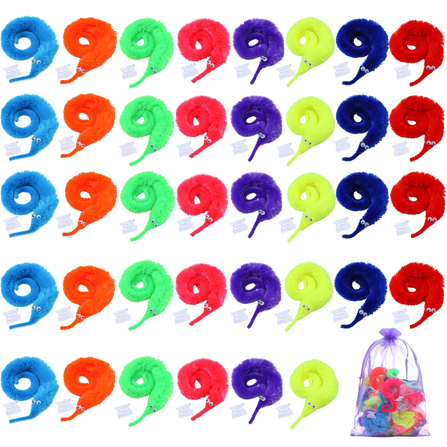 Cooraby 40 Pieces Magic Worm Toys Wiggly Twisty Fuzzy Worm Carnival Party Favors with a Organza Bag, 8 Colors by Cooraby