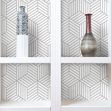 Roommates Grey Stripped Hexagon Peel And Stick Wallpaper White Grey 20 5 X 16 5 Feet Rmk10705wp Amazon Com