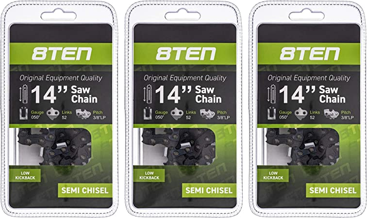 8TEN Chainsaw Chain 14 Inch Bar .050 3//8 52 DL Echo Husqvarna 91VXL052G 4 Pack