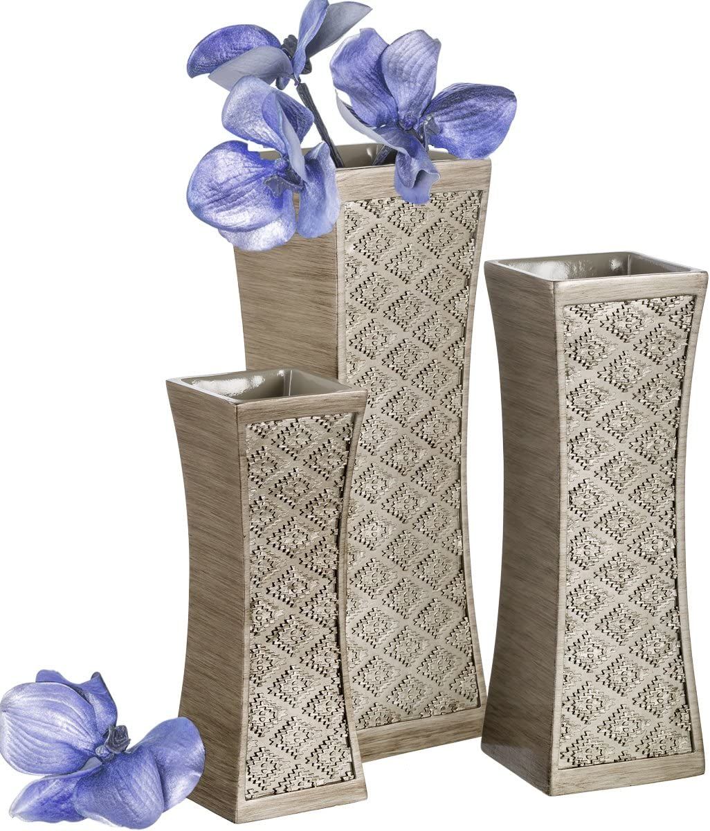 Dublin Flower Vase Set of 3 – Centerpieces for Dining Room Table, Decorative Vases Home Decor Accents for Living Room, Bedroom, Kitchen More Packaged in Gift Box Brushed Silver