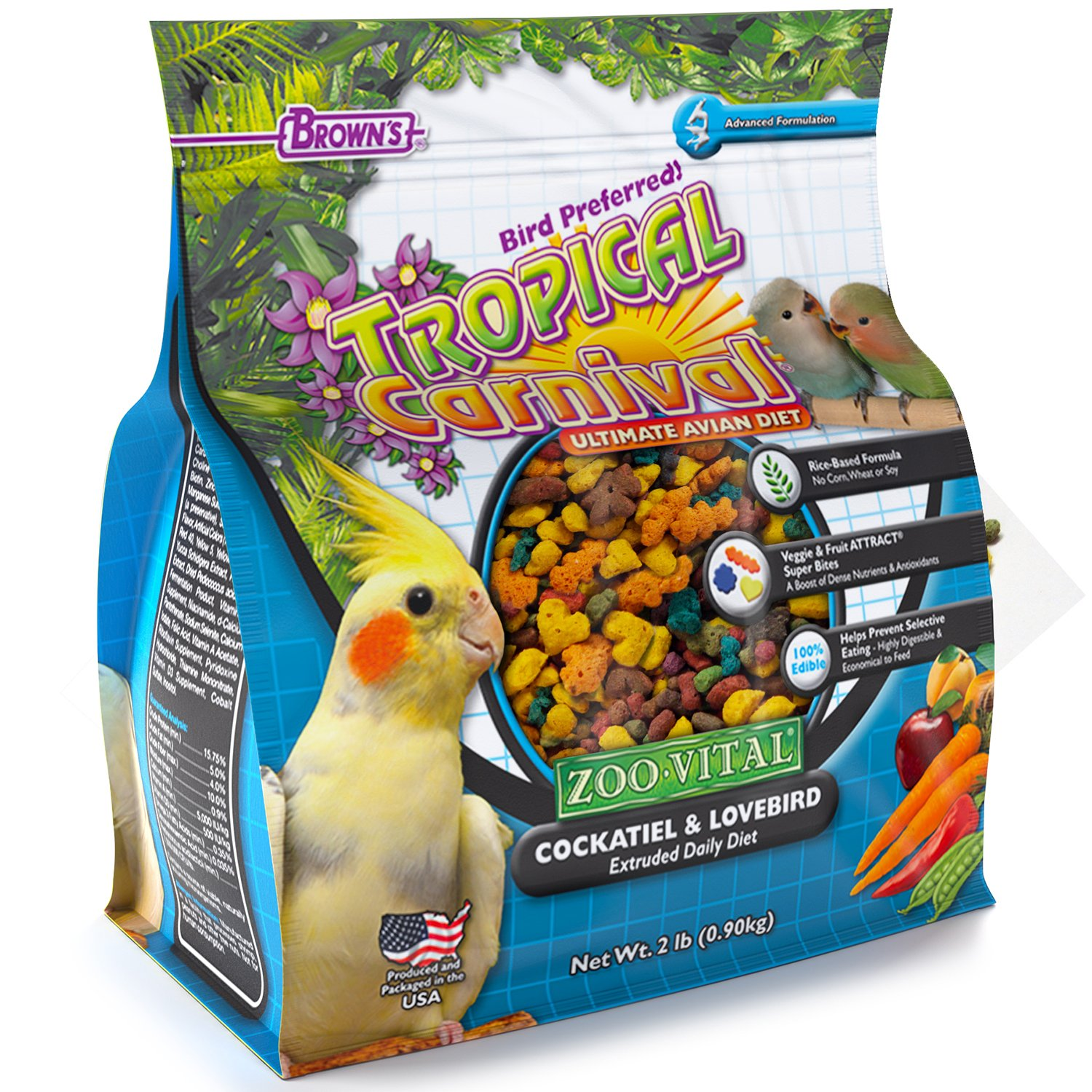 F.M. Brown's Tropical Carnival Zoo-Vital Cockatiel & Lovebird Pellet Daily Diet with Probiotics for Healthy Digestion, 2-lb Bag - Grain-Free, Rice-Based Formula, 100% Edible, Prevents Selective Eating by Tropical Carnival