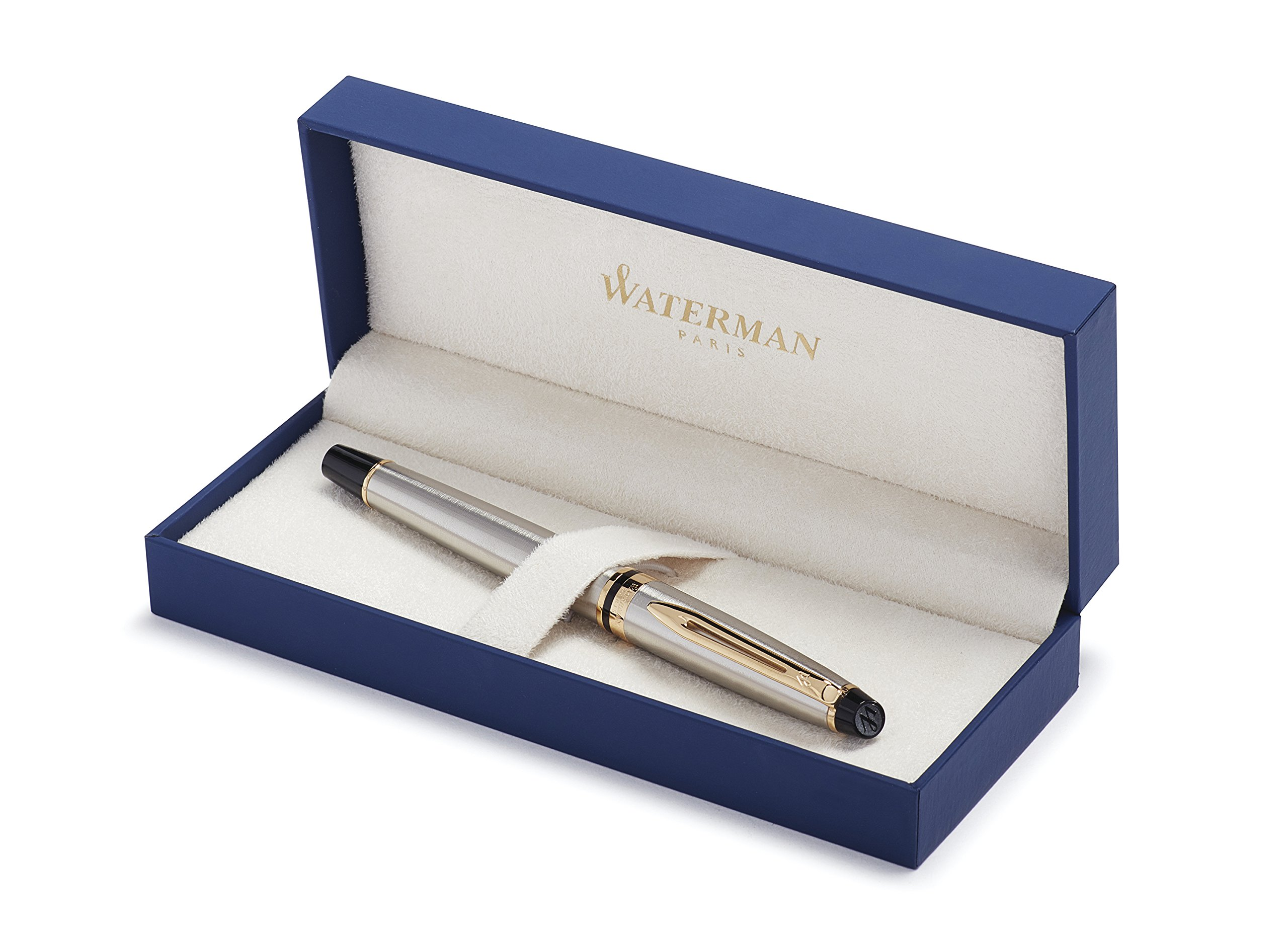 Waterman Expert Rollerball Pen, Stainless Steel with 23k Gold Trim, Fine Point with Black Ink Cartridge, Gift Box by Waterman (Image #1)