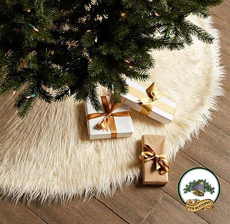 classic mongolian shaggy sheepskin faux fur tree skirt log cabin lodge christmas tree skirt white - White Christmas Tree Skirt