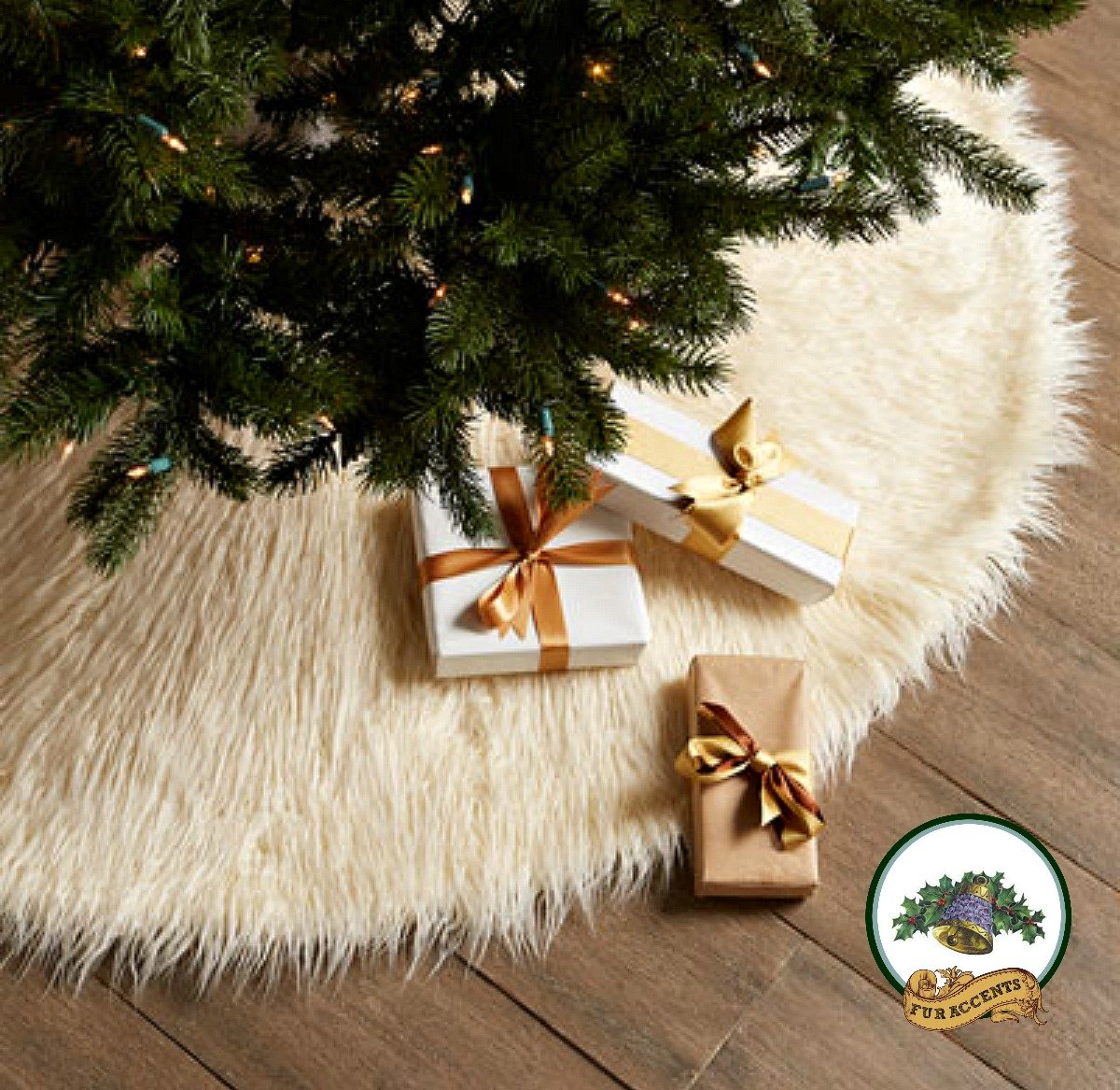 Classic Mongolian Shaggy Sheepskin Faux Fur Tree Skirt / Log Cabin Lodge Christmas Tree Skirt White Premium Quality Faux Fur Round (5' Diameter)