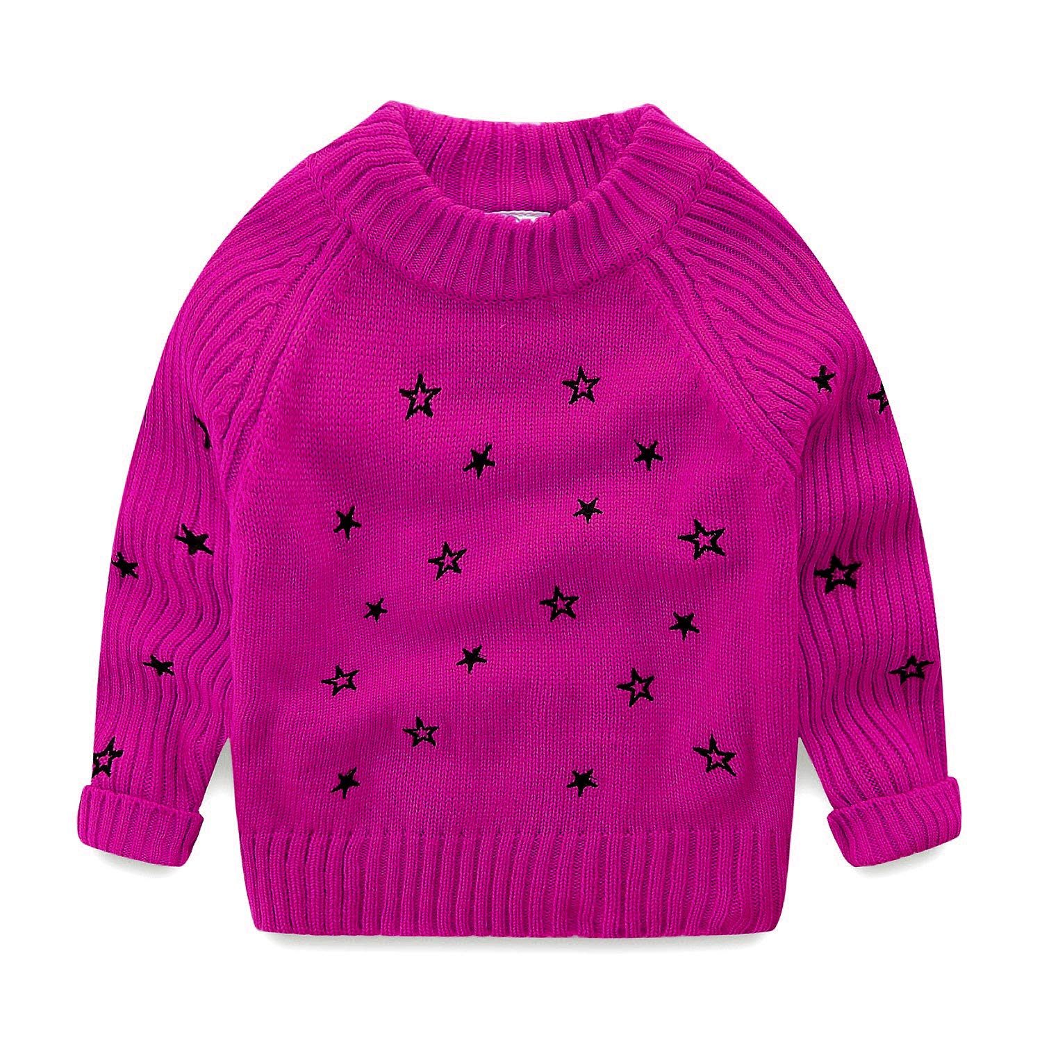 Mud Kingdom Toddler Girls Pullover Sweaters Cute Embroidered Stars Z-S0417