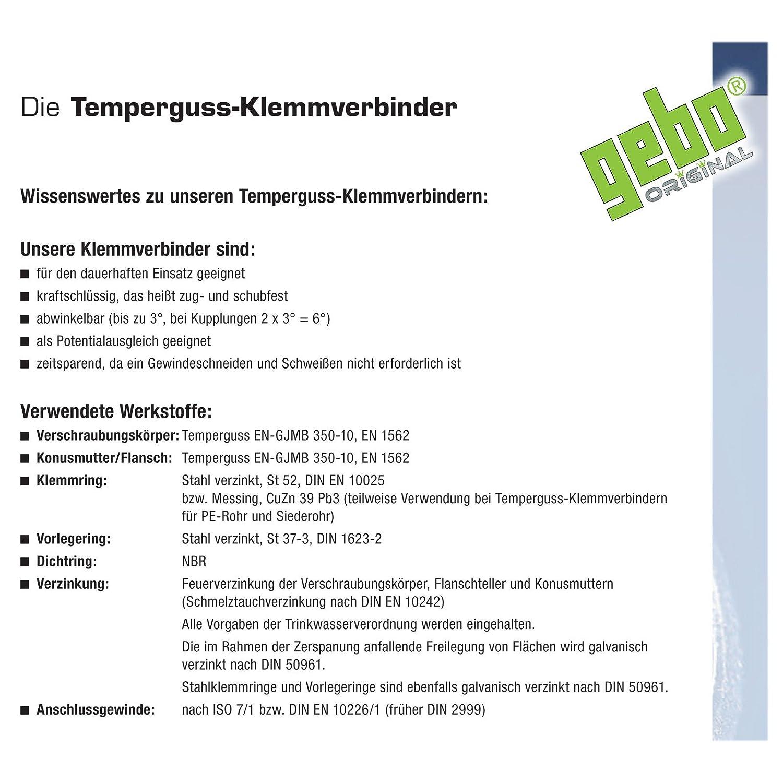 Gebo Armaturen 01.150.00.01 Gebo Temperguss-Klemmverbinder A AG 1//2x21,3mm