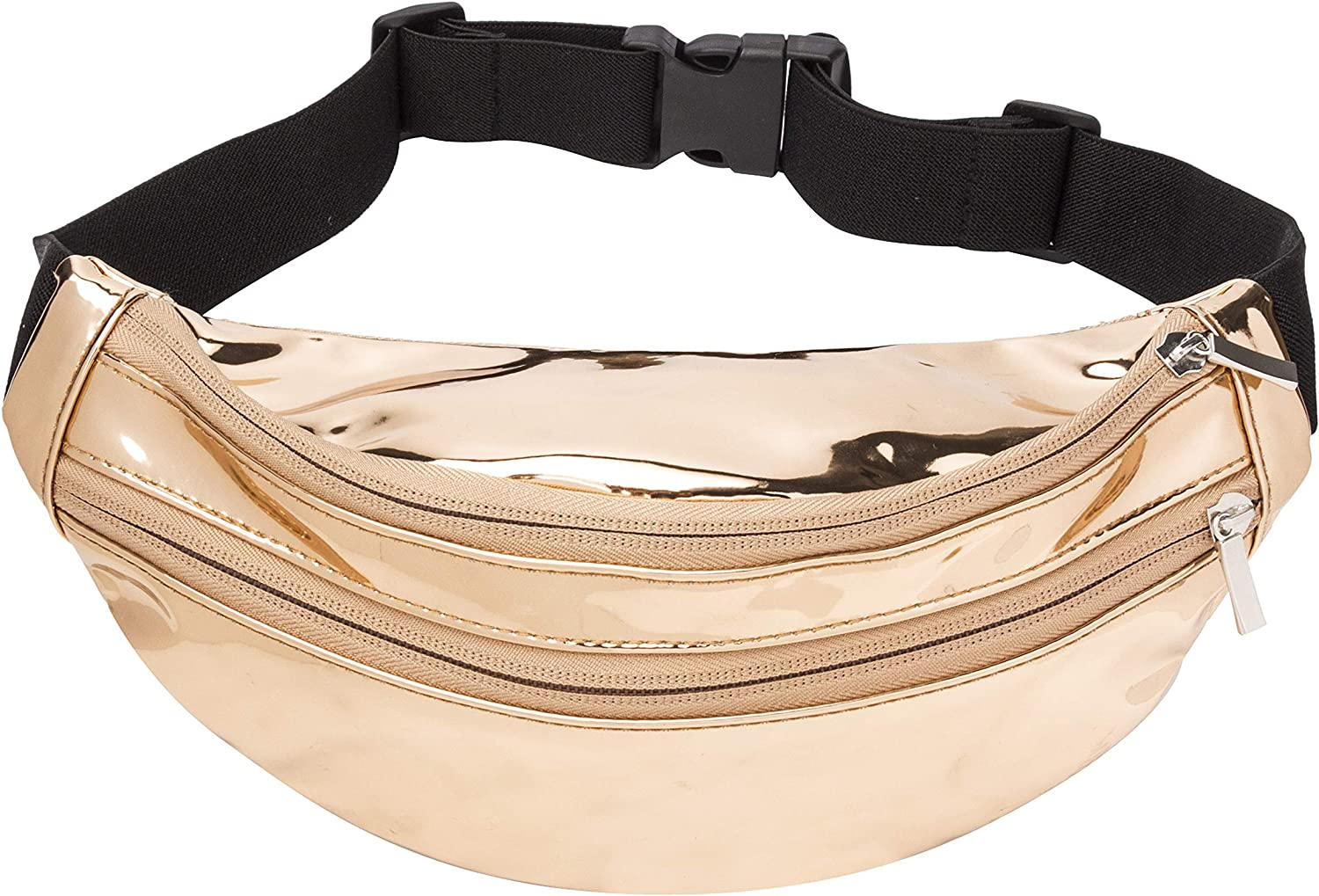 Fanny Pack for Women, Girls, Kids, Waterproof Mirror Surface Waist Packs for Trip, Party, Adjustable Elastic Belt, Gold