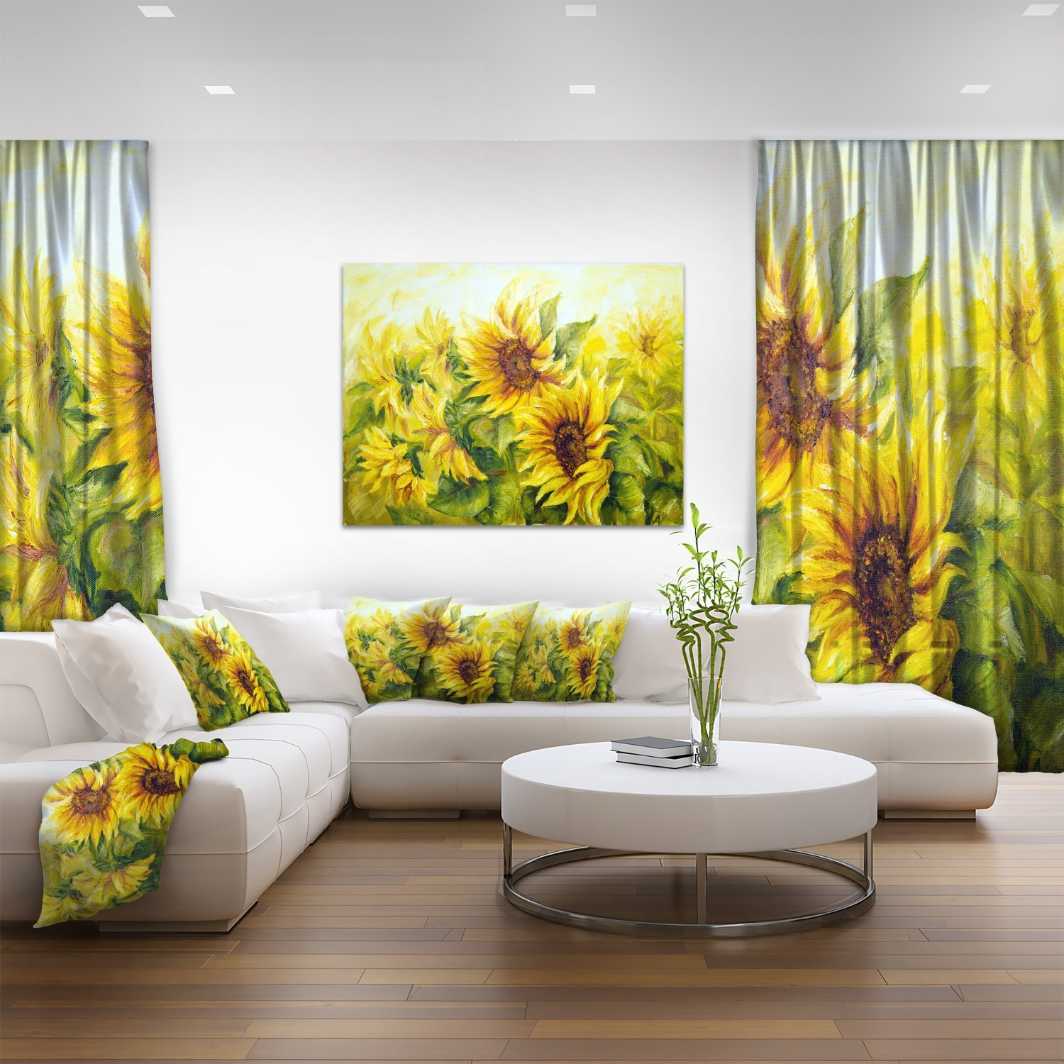 Amazon.com: Bright Yellow Sunny Sunflowers Floral Painting Canvas ...