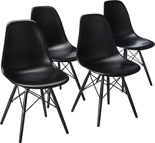 2xhome Set of 4 Mid Century Modern Black Side Armless No Arms Dark Wood Legs Eiffel