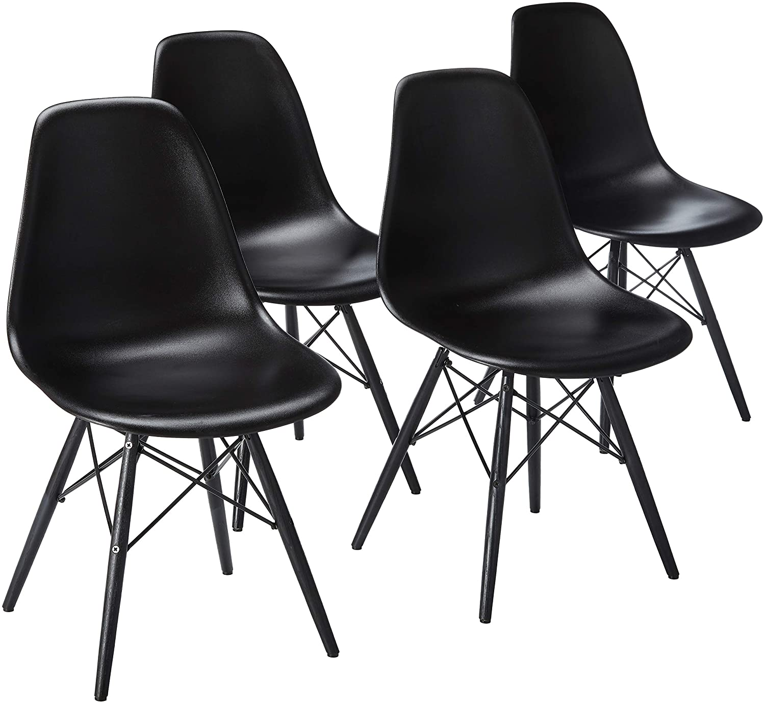 2xhome Set of 4 Mid Century Modern Industrial Black Side Armless No Arms Dark Wood Legs Eiffel for Dining Room Chairs Molded Shell Plastic Dowel Metal Desk