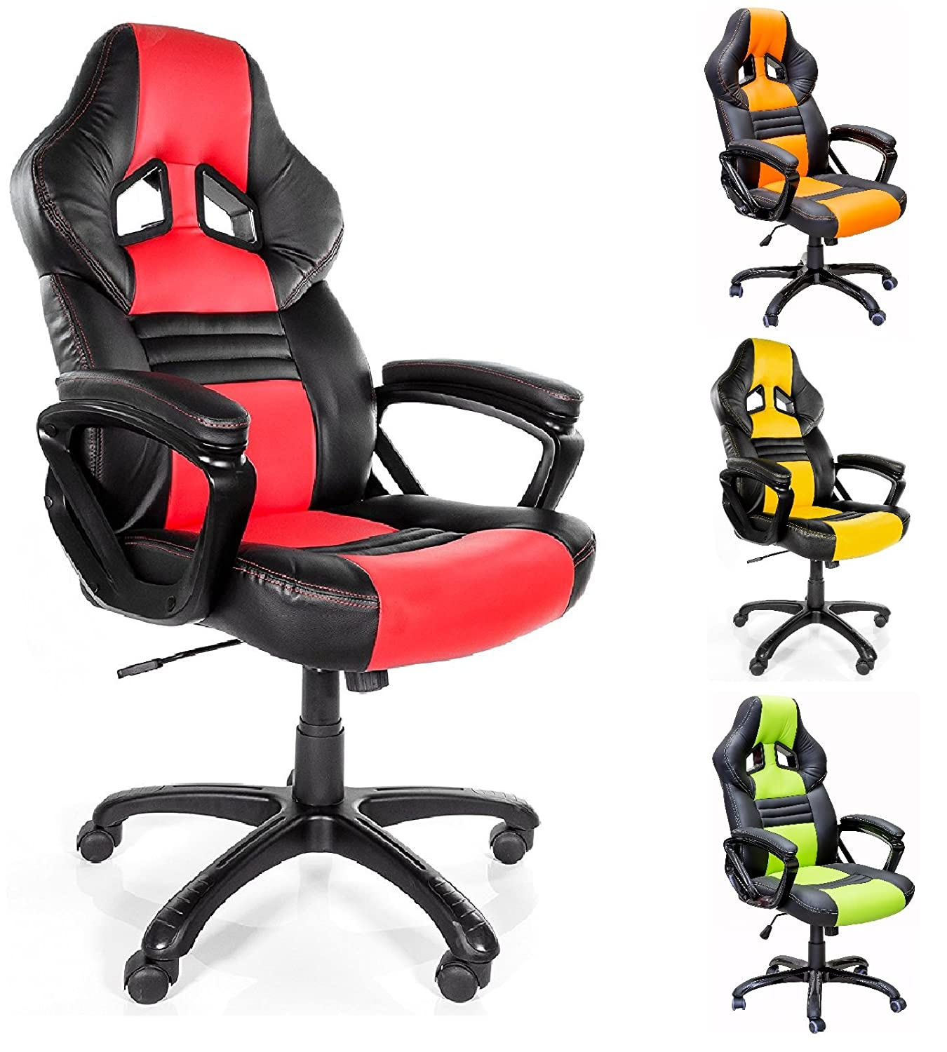 racing aosom leather style office pu chair gaming homcom red uk