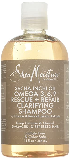 Shea Moisture Sacha Inchi Oil Omega-3-6-9 Rescue & Repair Clarifying Shampoo for Unisex, 13 Ounce