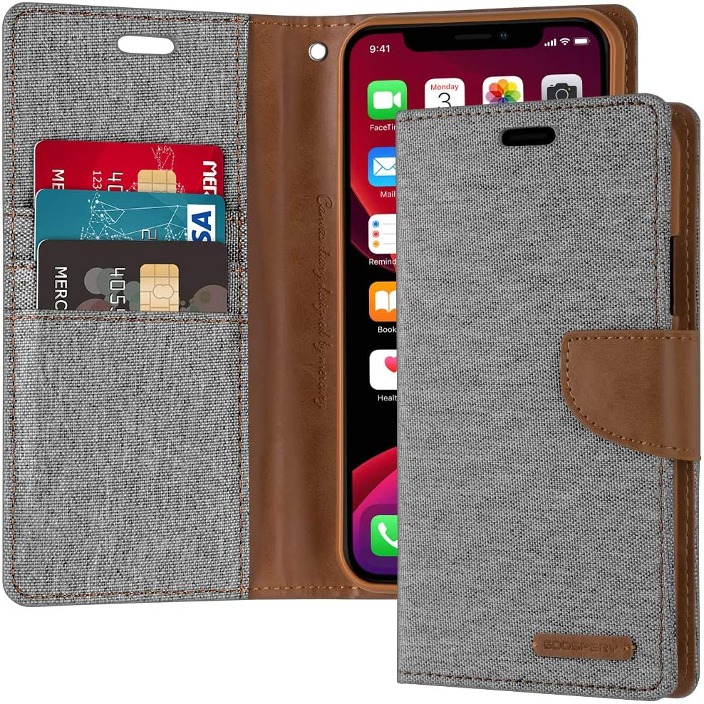 Goospery Canvas Wallet for Apple iPhone 11 Pro Case (5.8 inches) Denim Stand Flip Cover (Gray) IP11P-CAN-GRY