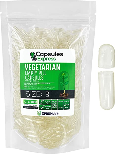 XPRS Nutra Size 3 Empty Capsules - 1000 Count Clear Empty Vegan Capsules - Capsules Express Vegetarian Empty Pill Capsules- DIY Vegetable Capsule Filling- Veggie Pill Capsules Empty Caps
