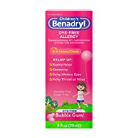 Children's Benadryl Dye-Free Allergy Liquid, Diphenhydramine HCl, Bubble Gum, 4 fl. oz