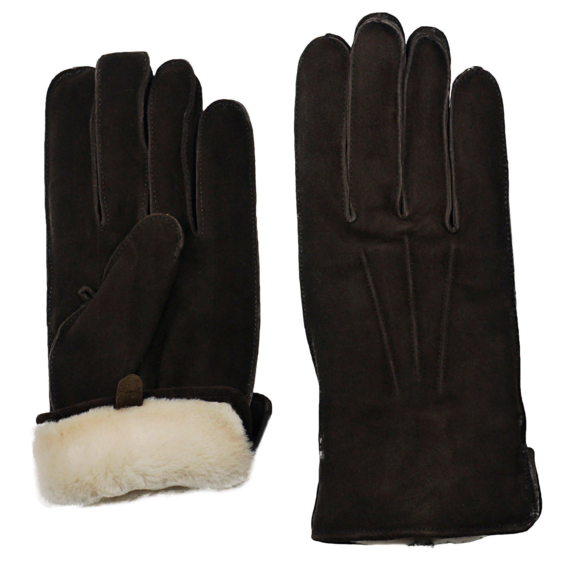 GRANDOE Men's OAKBROOK Genuine SUEDE Leather Glove with Real SHEARLING FUR Cuff (Brown, Medium)