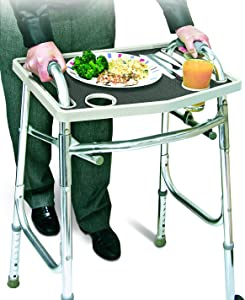 Universal Walker Tray Table With Non Slip Grip Mat - Gray,20.75""