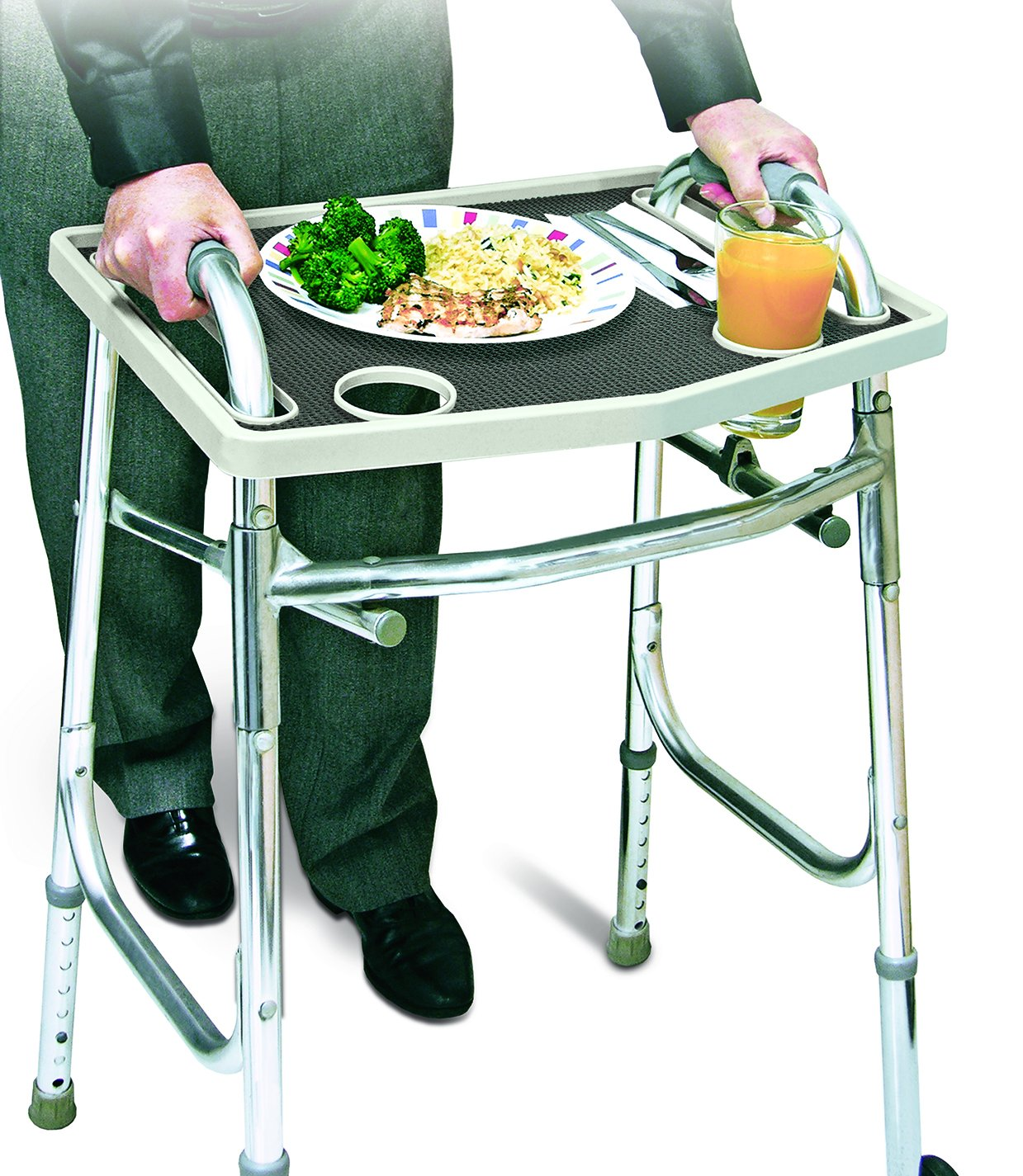 Universal Walker Tray Table With Non Slip Grip Mat - Gray,20.75'' by Walker
