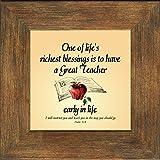 "Teacher Appreciation Inspirational Poem (BR) Framed Gift 4"" X 4"" wirh Built in Easel"