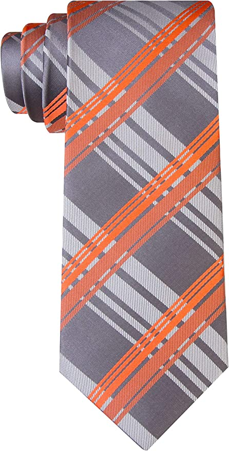 Navy Blue With Orange and Light Heather Gray Color Necktie and Matching Color Argyle Socks Set for Men in Multi-occasion