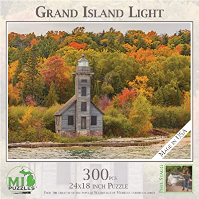 "Grand Island Lighthouse - 300 Piece MI Puzzles Jigsaw Puzzle - 24"" x 18"" Interlocking - Made in USA: Toys & Games"