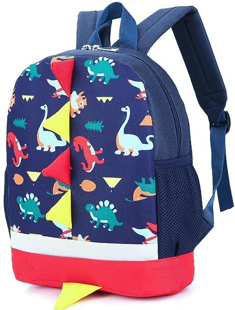 8adb0e8eeedc Kid Backpack Boy Preschool with Chest Strap Dinosaur Blue ...