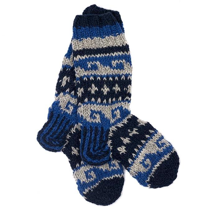 Paper High Funky Annapurna Tejido a mano invierno lana calcetines – color azul oscuro